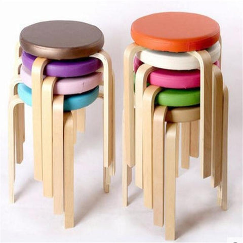 $106.62- 32*46cm Wooden Stool Soft PU leather Stools Living Room Dining Chair Hotel Cafe Bar Chair