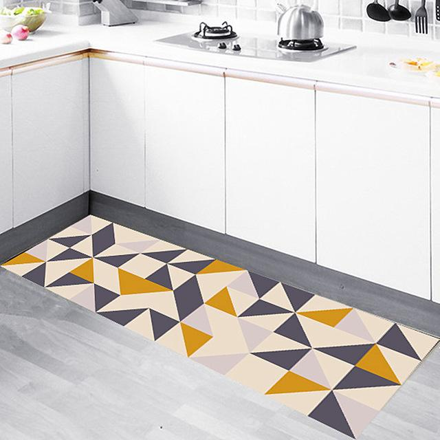 Panlonghome Nordic Modern Minimalist Kitchen Rug Geometric Mat Nonslip Oilresistant Strip Mat Home Bedroom Bedside Carpet