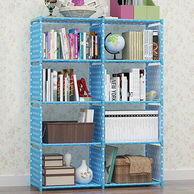 $86.68- Double Rows Multipurpose Book Shelf Student Simple Bookcase Diy Combination Reinforcement Storage Cabinet Plants Toys Organizer