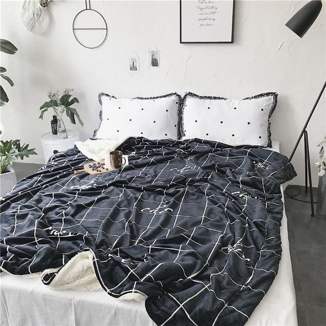 $79.18- Nordic Style Thicken Flannel Super Warm Soft Double Layer Bedspreads Throw Sheep Velvet Blankets For Double Bed