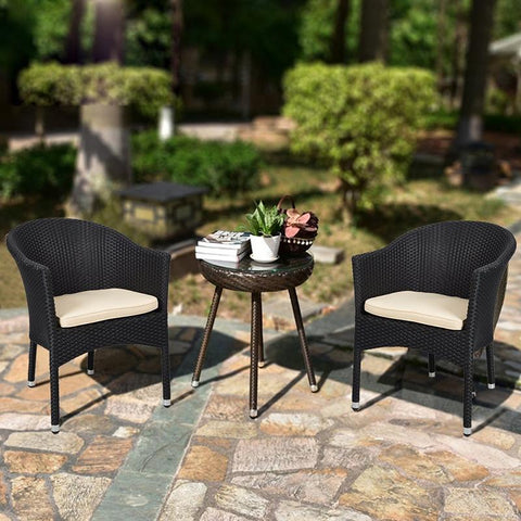 $394.32- Simple Design Outdoor Patio Garden Furniture Rattan Chair W/ CushionsSet Of 2