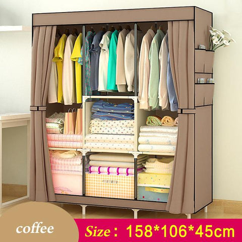 $72.74- Simple Wardrobe Nonwoven Steel pipe frame reinforcement Standing Storage Organizer Detachable Clothing Closet Bedroom furniture