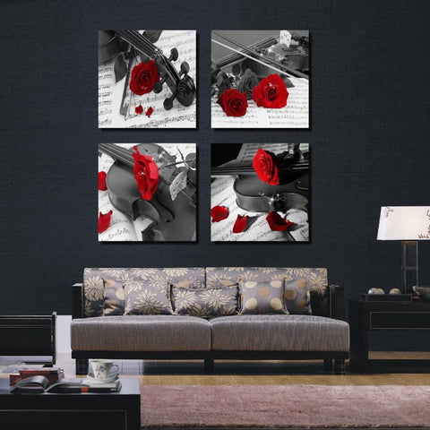 $34.18- 4 Pieces Rose Black White Canvas Abstract Flower Painting Room Wall Beautify Sideboard Pictures Unframed