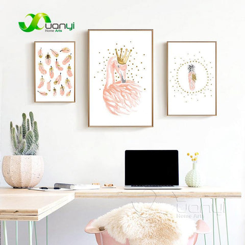 Pink Flamingo Girls Canvas Painting Watercolor Nordic Poster Print Nursery Wall Art Picture For Kids Room Home Decor Unframed