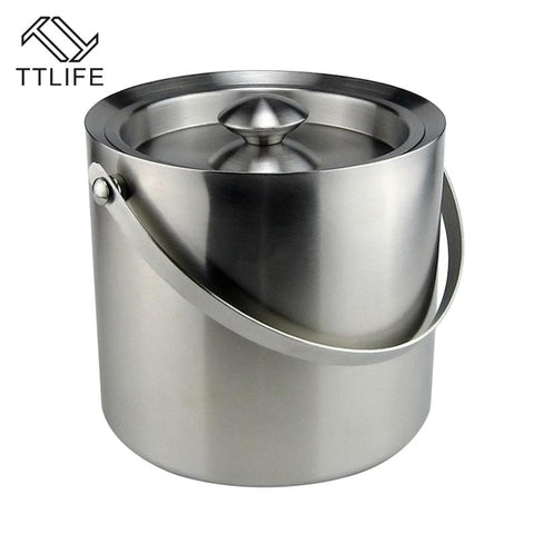 $54.14- Ttlife New 2L 3L Stainless Steel Double Walled Ice Bucket W/ Scoop Barware Serveware For Parties Events Gatherings