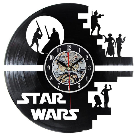 $35.84- Fashion Creative Clock Cd Vinyl Record Wall Clock Film Theme Home Decor 3D Hanging Watches Duvar Saat Home Decoracion