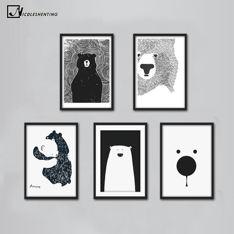 $6.64- Cartoon Polar Bear Animal Nordic Art Canvas Poster Minimalist Print Black White Wall Picture Modern Home Kids Room Decoration