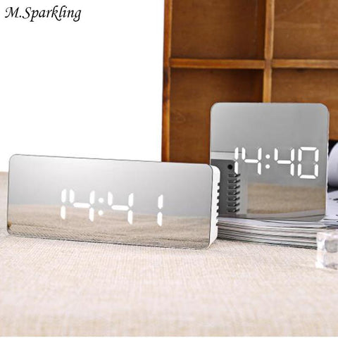 $39.10- M.Sparkling Mirror Desk Clock Muti Function Digital Alarm Clocks Led Make Up Mirror Watches Home Decortaions Christmas Gifts