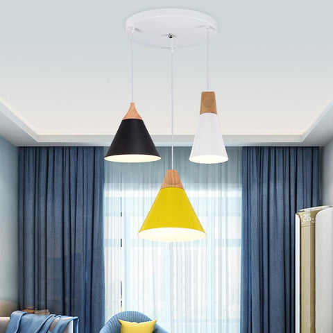 $40.50- Nordic Modern Colorful Wood Pendant Lamp For Restaurant Coffee Bar Dinning Room Bedroom E27 Pendant Lights Decor