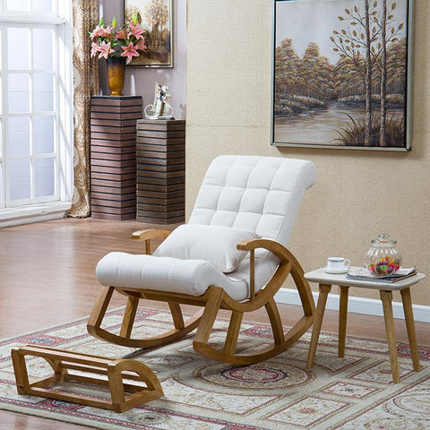 Wood Rocking Chair Glider Rocker Ottoman Set Living Room Furniture Cushioned Luxury Comfortable Nursery Rocking Chair Seat