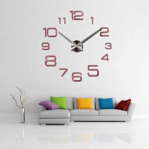 $17.58- New Wall Clock Modern 3D Big Quartz Watch Clocks Living Room Large Clocks Home Decoration Still Life Circular Diy Stickers