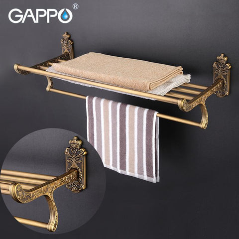 $71.98- GAPPO ZincAlloy Bathroom Shelves Wall Mount Towel Hanger Stainless Steel shelf Holder Double Layer Storage Shelf Shower Stands