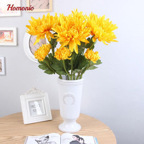 $19.04- 2 Heads Perennial Artificial Chrysanthemum Silk Flower Simulation Faux Flowers Fake Plant Wedding Flowers Garden Decoration Home