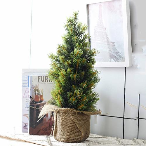 Luyue 34Cm Artificial Christmas Tree Plant Pot Culture Real Touch Mini Simulation Fake Pu Tree Diy Flower Home Decoration