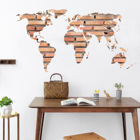 $9.69- new 3d wall decor the brick world map wall sticker for children room living room home decorations pvc decal mural art kids room