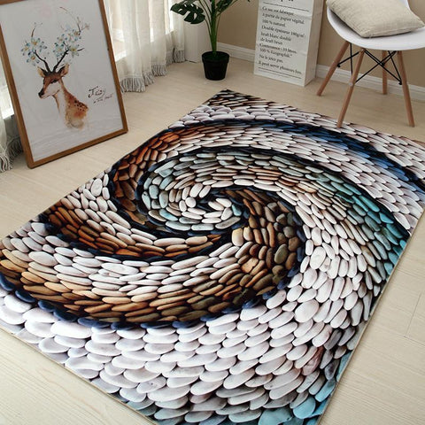 $23.22- 6Mm 3D Continental Simple Modern Rug Living Room Sofa Coffee Table Cushion Bedroom Bedside Rug Household Washable
