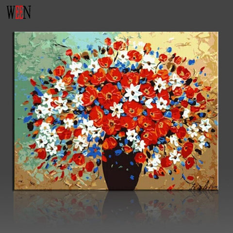 $25.18- Ween Flower Pictures By Numbers Modern Digital Wall Art Oil Painting Draeing By Number For Home Wall Artwork Flower Poster