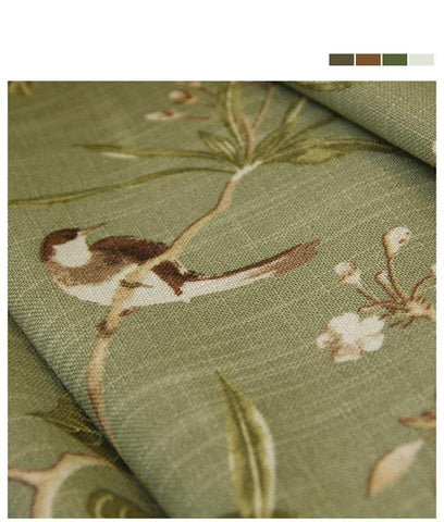 Linen Blue Color Window Curtain American Rustic Style Curtains For Living Room Birds Printed Drapes Home Decor 0182