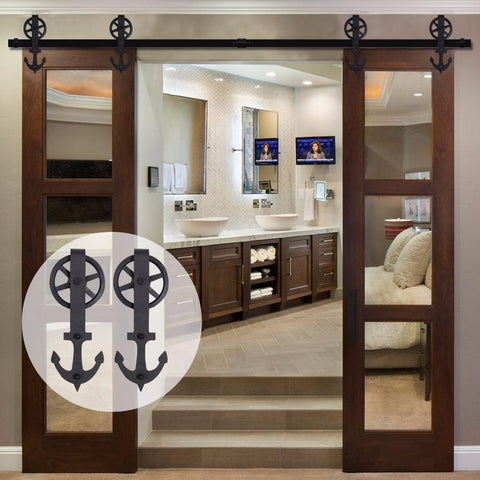 $321.92- LWZH 7FT/8FT/9FT Sliding Barn Door Hardware Kit Black Steel Anchor Shaped with Big Rollers Closet Door Hardware for Double Door
