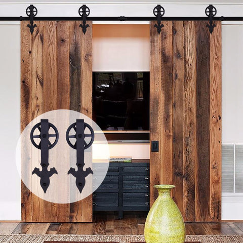 $316.77- LWZH Sliding Barn Door Hardware Kit Black Steel Arrow Flower Shaped with Big Rollers Closet Door Hardware for Double Door 7/9FT
