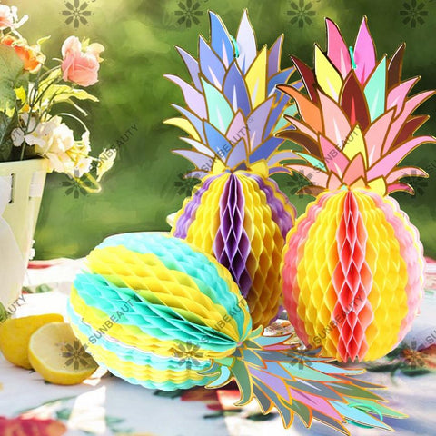 Pack Of 3 MutiColor Paper Pineapple Shape Honeycomb Decor Summe Party Pineapple Garland Table Centerpiece Beach Pool Luau Party