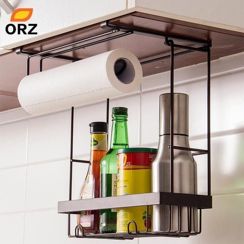 $53.91- Orz Kitchen Storage Organizer Paper Holder Towel Hanger Spice Seasoning Storage Rack Cabinet Hanger Hook Kitchen Organizer Shelf