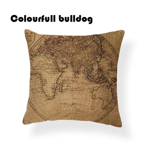 $6.82- Warm World Map American Flag Africa Cushion Cover Coastal Nautical Chart Asia Game 45X45Cm W/out Inner Decorativa Throw Pillow