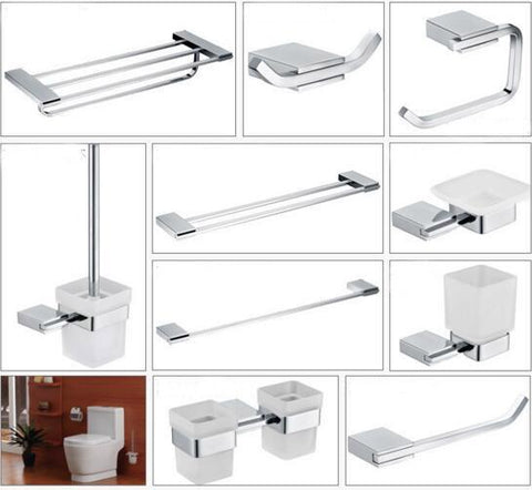 $25.11- Sus 304 Stainless Steel Bathroom Hardware Set Chrome Polished Paper Holder Toothbrush Holder Towel Bar Bathroom Accessories