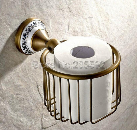 $77.38- Antique Brushed Brass Porcelain Base Bathroom Accessories Toilet Roll Paper Towel Holders Basket Wall Mounted Lba404