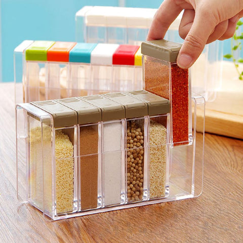 $35.40- Clear Seasoning Rack Spice Pots 6 Piece Acrylic Seasoning Box Storage Container Condiment Jars Kitchen Accessories