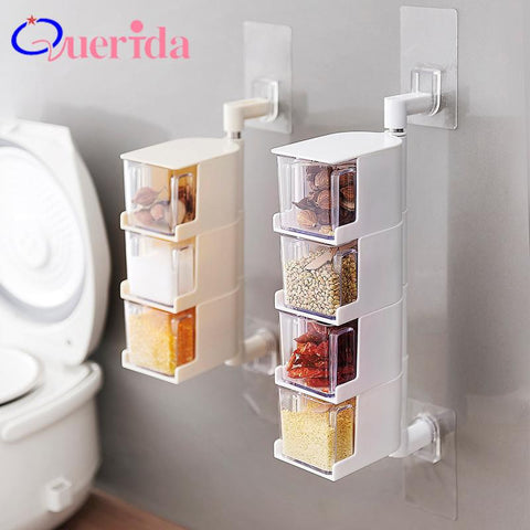 Transparent WallMounted Rotating Seasoning Box Salt Pepper Spice Condiment Containers Drawer Spice Jar Rack Kitchen Tools