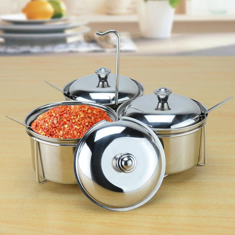 $26.10- New Style 300Ml/Canister Cruet Condiment Spices Set W/ A Spice Rack Stainless Steel Condiment Canister Seasoning Tools