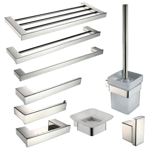 $18.90- Sus 304 Stainless Steel Bathroom Hardware Set Bathroom Accessories Mirror Polished Paper Holder Toothbrush Holder Towel Bar