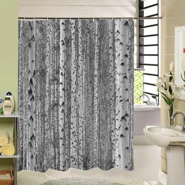 Birch Tree Shower Curtain Forest Trees For Bathroom Decor Private Protective Unique Shower Curtians Fabric Liner