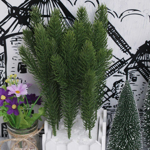 10Pcs Artificial Flower Fake Plants Pine Branches Christmas Tree For Christmas