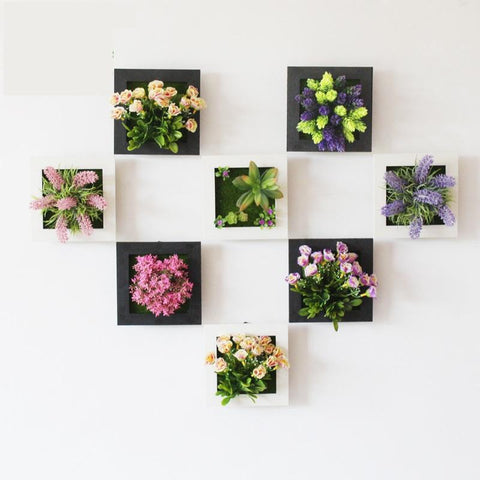 $10.41- 1 Pcs 3D Plant Wall Sticker Home Decor Wall Artificial Flowers Frame Fake Plant Wall Art Mural Living Room/Wedding Decoration