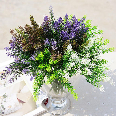 $2.93- 15Heads/1Bundle Silk Lavender Bride Bouquet For Christmas Home Wedding New Year Decor Fake Plants Artificial Plastic Flowers