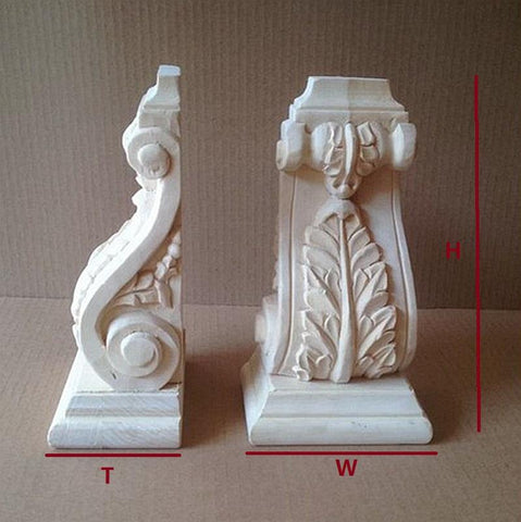 $70.24- 2Pcs/Lot Premintehdw H150*W80*T50Mm Preminum European Leaf Design Hand Carved Corbels Wood Corbel