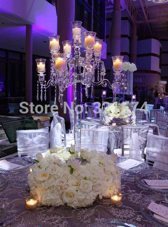 New Beautiful 9 Arms 90Cm 35.43Inch Tall Crystal Candelabra Candle Holder Wedding Table Centerpieces Dinner Table Decoration