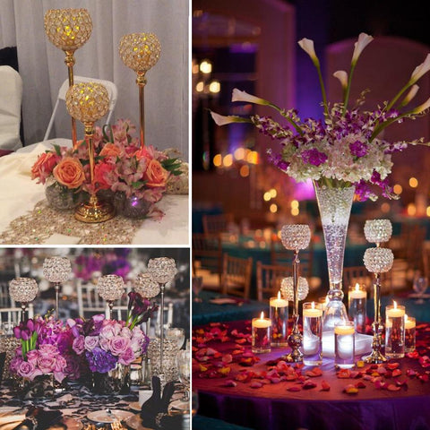 10Pcs/Lot Crystal Beaded Acrylic Metal Bling Candle Tealight Lamps Candle Holder Wedding Table Centerpiece Event Home Decoration