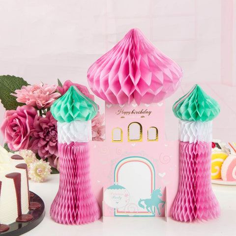 Pink Princess Party Honeycomb Castle Table Decoration Table Centerpiece Baby Girl Birthday Party Decor