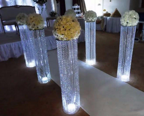 $896.00- Wedding Decoration Acrylic Crystal Pillar Aisle Road Lead W/ Led Light Table Centerpieces For Home Wedding Party