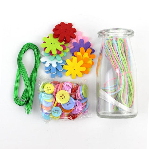 Kids Diy Button Bouquet Flower Craft Kits Kindergarten Handmade Creative Toys For Children Button Flower Table Centerpiece