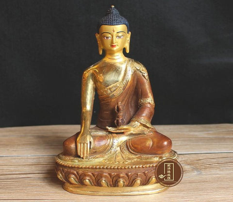 $169.10- 21Cm Large # Religious Buddha Figure # Home Office House Efficacious Protection # Tibetan Buddhism Brass Buddha Statue