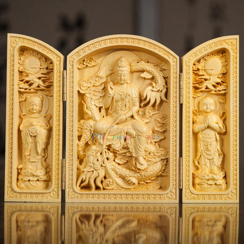 Oriental Ternary Doors Design Boxwood Handwork Carved Sutra Kwanyin Statue Metal Handicraft