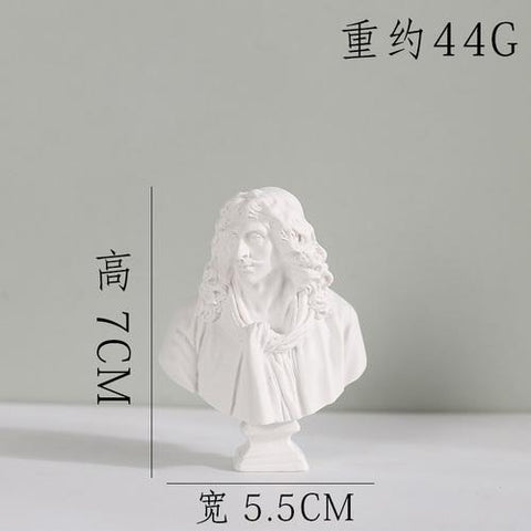 $17.08- World Famous Statue Mini Figure Moliere/Ares Plaster Figure Decoration Resin Bust Sketch Practice Model Crafts Home Decor