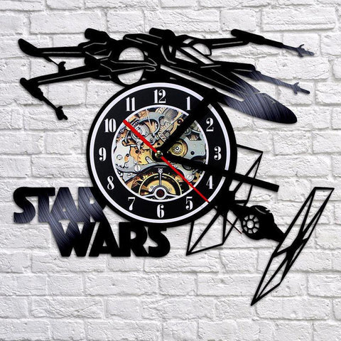 $42.08- Star Wars Wall Clock Modern Design Airplane Theme Clocks Retro Style Vinyl Record Wall Watch 3D Decorative Hanging Home Decor