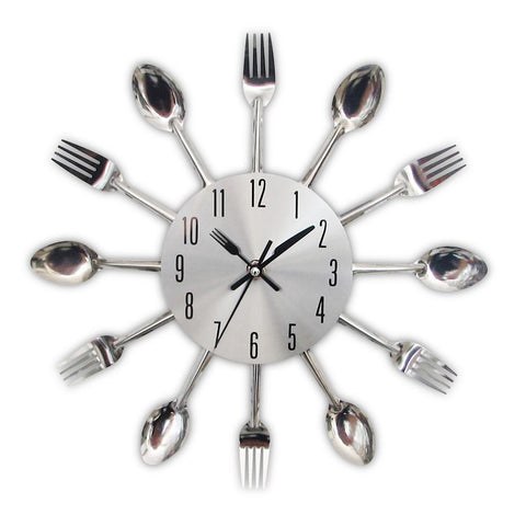 $18.22- New Modern Kitchen Wall Clock Sliver Cutlery Clocks Spoon Fork Creative Wall Stickers Mechanism Design Home Decor Horloge