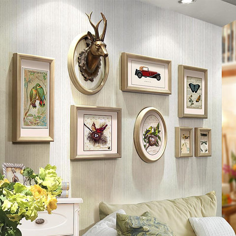 $151.98- 8 Pieces/Set Home Design Wedding Love Photo Frame Reindeer Head Wall Decoration Wooden Picture Frame Set Wall Photo Frame Set