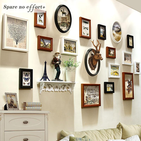 $248.63- Picture Frames 18 Pieces 5/6/7/10 Inch Photo Frame Set Wooden Picture Frame For Wedding Home Decor Marcos De Fotos